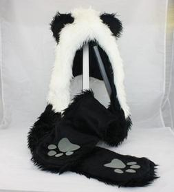 PANDA Full Animal Hoodie Hat 3-in-1 Function