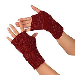 PASATO Knitted Arm Fingerless Winter Gloves Soft Warm Mitten