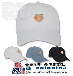 Peach Emoji Embroidery Dad Hat Adjustable Polo Style Unconst