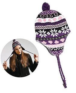 Purple and Pink Colored knit Beanie With White Snowflake Pat