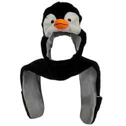 Plush PENGUIN Hat Hat With Long Ear Flaps & Attatched Mitten