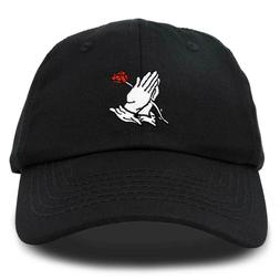DALIX Prayer Hands Hat Baseball Cap Rose Dad Hats Black Whit