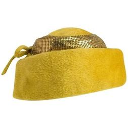 Preowned 50s Leslie James Mustard Structured Hat With Metal