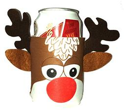 Reindeer Rudolph Beer Can Huggie Cover Christmas Xmas Ugly S