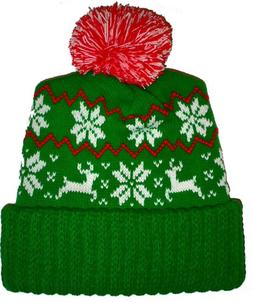 0c49cabc42a4c Green Reindeer Snowflake Winter Beanie Pom Hat Cap Ugly X Ma
