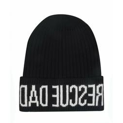 Rescue Dad Knitted Beanie Hat Black White for Men Embroidere
