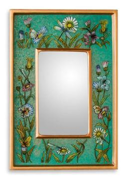 NOVICA Reverse painted glass mirror, Emerald Fields