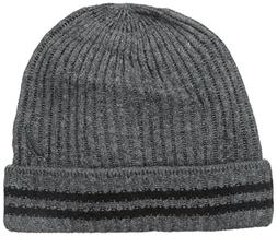 Nautica Men's Ribbed Cuff Hat with Stripes, Granite Heather