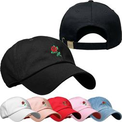 rose embroidery dad hat baseball cap unconstructed