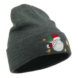 Santa Claus with Stars Embroidered Beanie - Grey OSFM