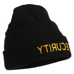 Security Embroidered Long Knitted Beanie - Black OSFM