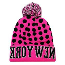 City Hunter Sk1150 New York Dots Knit Beanie Hat - Pink/blac