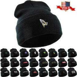 Ski Hat Beanie Embroidered Cuffed Knit Hat Winter Cap Henny