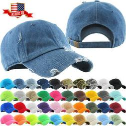 38e189475a368e Solid Distressed Vintage Cotton Polo Style Baseball Ball Cap
