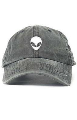 Space Alien UFO Dad Hat Adjustable Baseball Cap New - Black