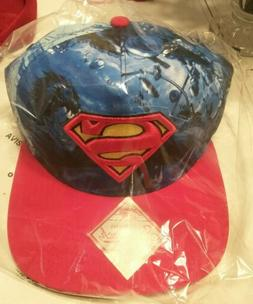 Superman Snapback Flat Bill Hat DC Comics All Over Print Bio