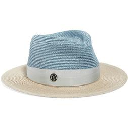 Maison Michel Thadee grosgrain-trimmed two-tone straw hat