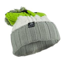 Three Tone Knit Pom Beanie - Light Grey OSFM