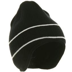 Two Tone Ear Flap Beanie-Black White