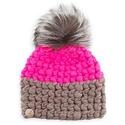 Mischa Lampert Two-Tone Wool Fox-Trim Beanie Hat