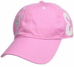 U.S. Polo Assn. Women's Number Three Baseball Hat, Pink, One
