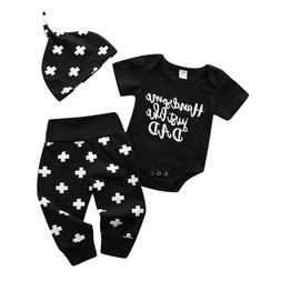 Baby Boy Girl Funny Romper+Long Pants Leggings Hat Outfits S