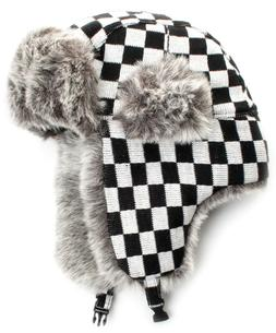 City Hunter W380 JACQUARD CHECK TRAPPER faux fur Black and w