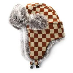City Hunter W380 JACQUARD CHECK TRAPPER  HAT faux fur