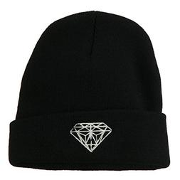 White Diamond Embroidered Long Cuff Beanie - Black OSFM