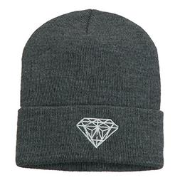 White Diamond Embroidered Long Cuff Beanie - Grey