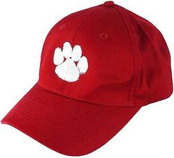 White Sports Team Mascot Paw Print Monogram Hat Red Baseball