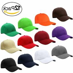 a0c50b3c Wholesale 12pcs Classic Plain Baseball Cap Dad Hat Adjustabl