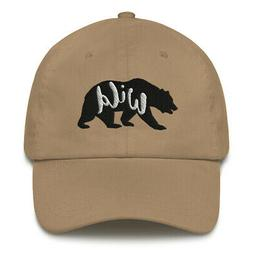 Wild Bear Embroidered Dad hat Camping Hiking Adventure Cap O