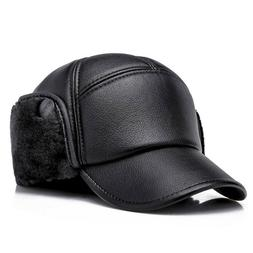 Winter Baseball Cap Men Outdoor Warm with Ear Flaps Winter D