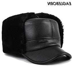 Winter Bomber Hats for Men Winter PU Leather Flat Dad Hat Ha