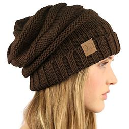 Winter Slouchy Ribbed Knit Beanie Button Ski Hat Brown