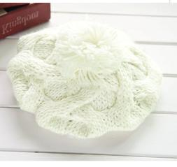 FUNOC Women Winter Warm Ski Cable Knitted Crochet Pom Hat