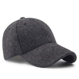 Winter Wool Felt Baseball Cap Men Outdoor Solid Woolen Feel