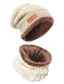 Women's Beanie Hat Soft Scarf Set Winter Warm Knit Hat and I