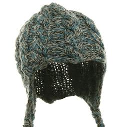 Blue Wool Blend Youth Cable Helmet Hat