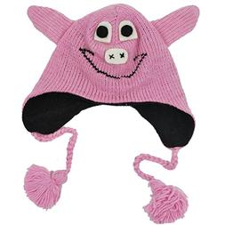Womens Woolen Animal Hat Piggy Beanie-Pink-One Size